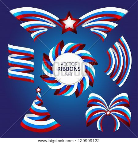 Ribbons set in blue-red-white colors to the day of Russia. Russian flag decoration elements.
