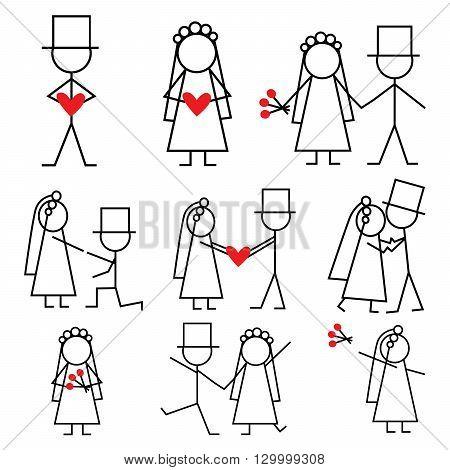 Set of stick figure wedding isolated on whitte.