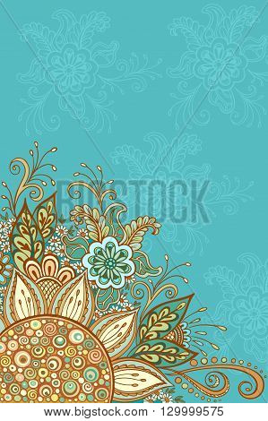 Abstract Background, Floral Ornament, Colorful and Outline Contour Pattern, Symbolic Flowers and Leafs. Vector
