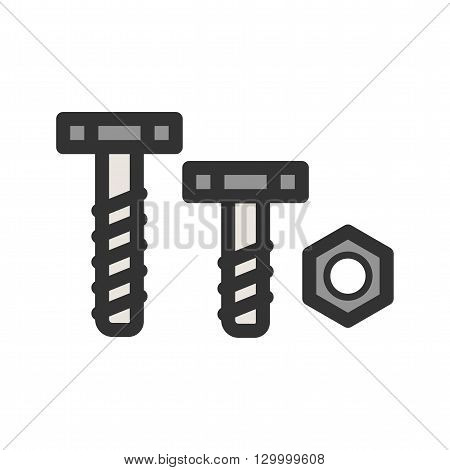 Nut, bolt, tools  icon vector image. Can also be used for tools. Suitable for use on web apps, mobile apps and print media