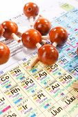 Periodic table of chemical elements with wood molecule poster