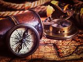 Постер, плакат: Travel geography navigation concept background vintage retro effect filtered hipster style image