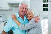 Portrait of affectionate senior couple embracing at home poster