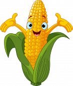 image of sweet-corn  - Illustration of a Sweet Corn Character Presenting Something - JPG