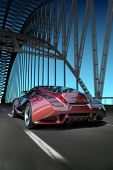 Car on bridge. My own car design. Not associated with any brand. poster