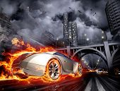picture of speeding car  - Burnout - JPG