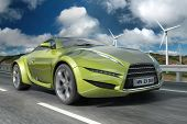 image of wind wheel  - Green concept car - JPG