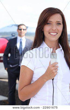 Journalist at airport