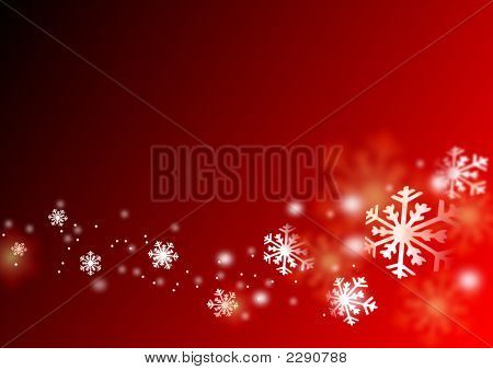 Snowflake Flying , Red Christmas Design