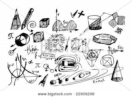 Hand Drawn Math And Physic Symbols