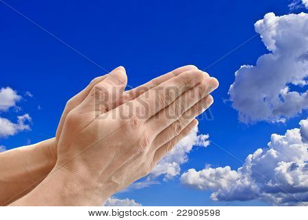 Hands On Background Sky.