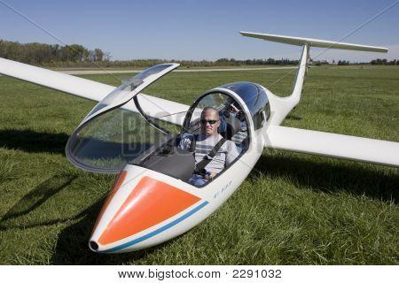 Man In A Glider Plane