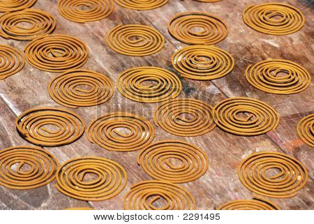 Coil Joss Stick Drying On The Table
