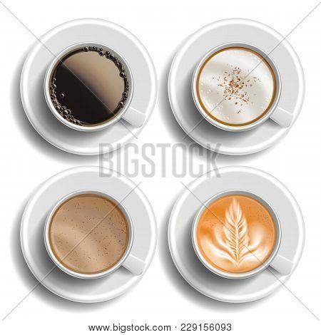 Coffee Cups Set Vector Top