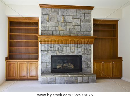 Open Fireplace And Book Shelf