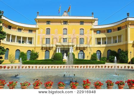 BARCELONA, SPAIN - AUGUST 18: Palau de Pedralbes on August 18, 2011 in Barcelona, Spain. From 1919 to 1931, a museum nowadays, was the residence for the Spanish Royal Family when they visited the city