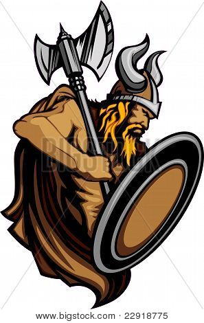 Viking Norseman Mascot Standing with Ax and Shield