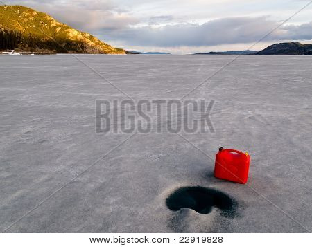 Red Jerrycan Lost on Frozen Lake Laberge, Yukon T