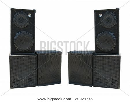 Old Powerful Stage Concerto Audio Speakers Isolated On White