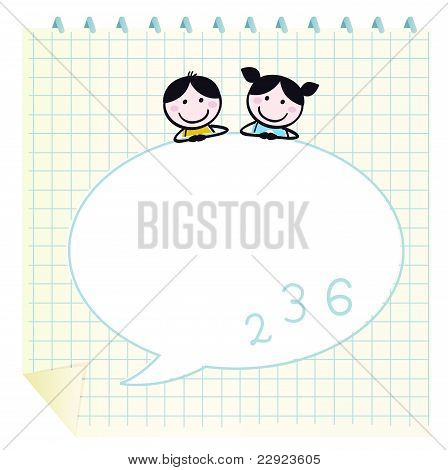 Happy Cute Kids & Doodle Notepad With Grid Isolated On White.