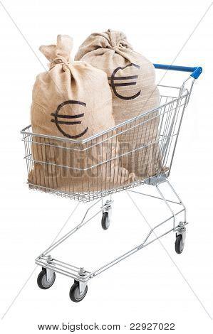 Two Sacks Full Of Euro In Shopping Cart