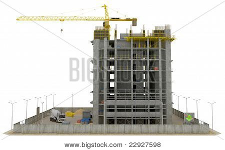 Construction Site: Incomplete Skyscraper Isolated