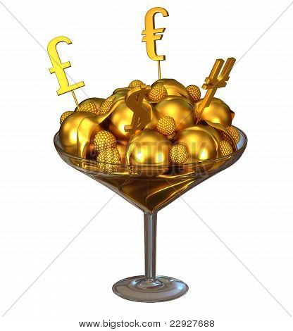 Golden Currency Symbols And Ice Cream In Bowl