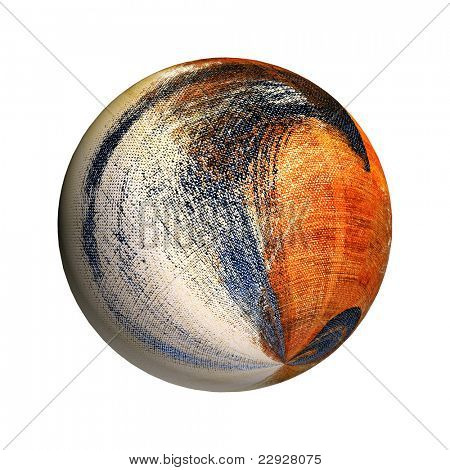 a canvas sphere of different colors on a white background