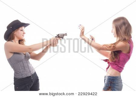 Portrait Of Two Young Girls With A Gun