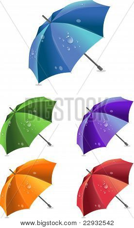 Set of colorful umbrellas, vector illustration