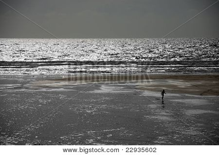 Lone Surfer On A Beach