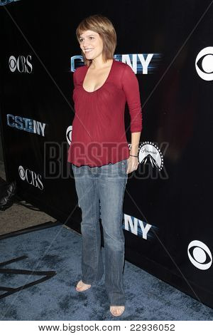 LOS ANGELES - NOV 1: Anna Belknap (pregnant)  at the CSI NY 100th episode party at the Edison Downtown, Los Angeles, California on November 1, 2008