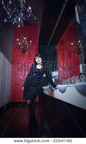 Woman in modern interior