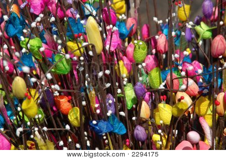 Artificial Flowers In Background