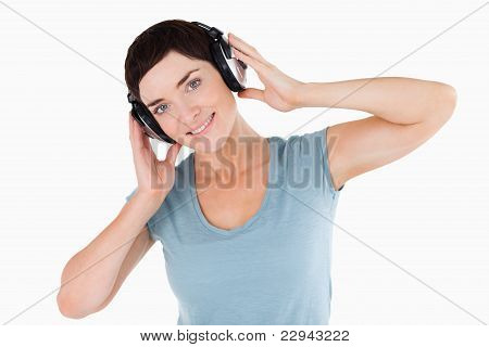 Close Up Of A Woman Listening To Music