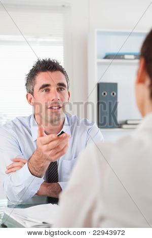 Portrait Of A Manager Talking To A Candidate