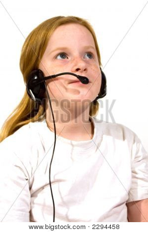 Little Girl With Headset