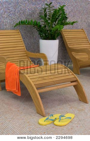 Sunbed With Orange Towel