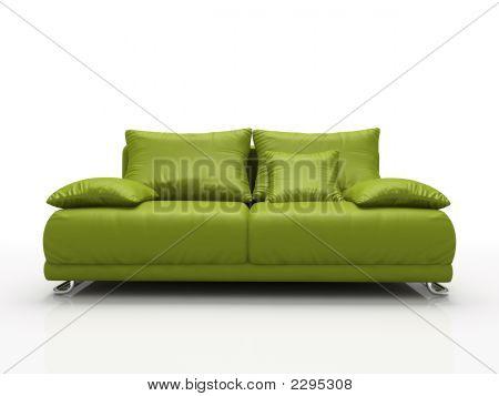 Sofá de cuero verde, aislado sobre fondo blanco