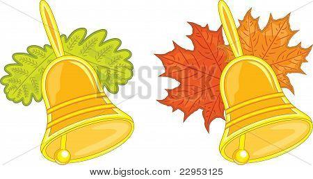 Two school bells, vector illustration