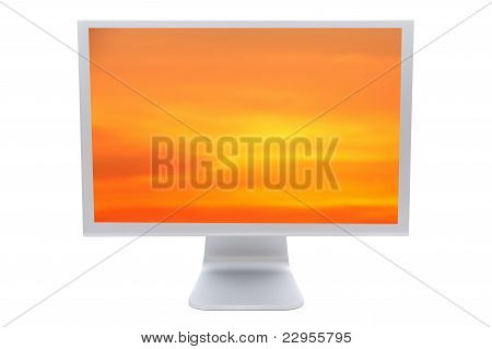 Computer Monitor With A Orange Sky