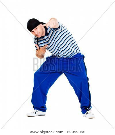 hip hop dancer performing. isolated over white background