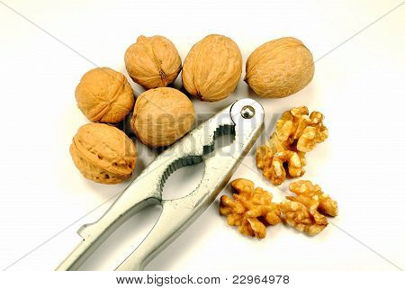 whole and cracked walnut with nutcracker