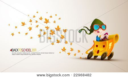 Cute Boy Racing his School Backpack Emitting Autumn Leafs| Back to School Series | Detailed vector illustration with space for text | All layers named accordingly