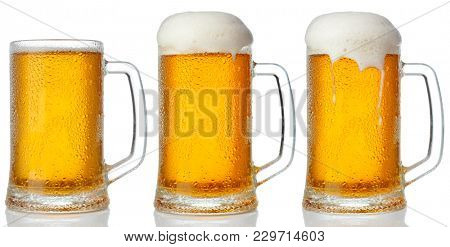 poster of Set of mugs of cold light beer with foam isolated on white background