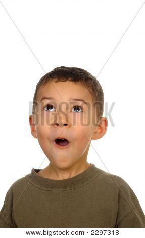 Boy Looking Up In Surprise