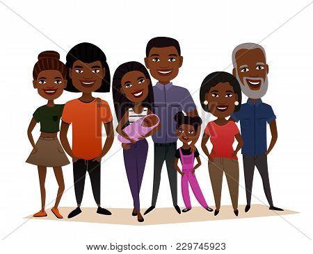 Big Happy Black Family Isolated