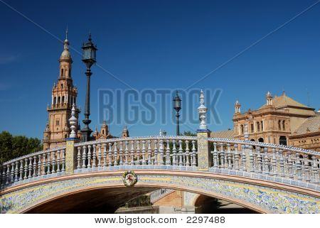 Beautiful Bridge On Plaza De Espana In Seville, Spain