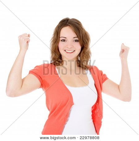 Cheering young woman