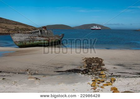 Shipwreck On The Beach, Falkland Islands
